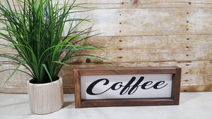"Coffee Framed Farmhouse Wood Sign 3"" x 12"" Coffee Wood Sign"