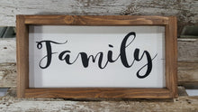 "Family Framed Farmhouse Wood Sign 3"" x 12"""