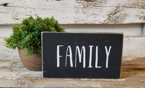 "Family 4"" x 6"" Mini Black Wood Block Sign Free Shipping"