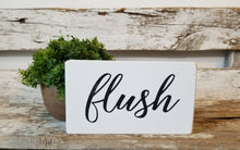 "Flush 4"" x 6"" Mini Wood Funny Bathroom Block Sign Free Shipping"
