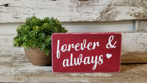 "Forever & Always 4"" x 6"" Mini Red Wood Block Valentine's Day Sign Free Shipping"