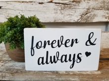 "Forever & Always 4"" x 6"" Mini  White Wood Block Valentine's Day Sign Free Shipping"