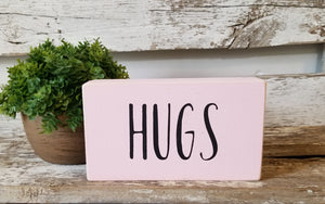 "Hugs 4"" x 6"" Mini Pink Wood Block Valentine's Day Sign Free Shipping"
