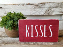 "Kisses 4"" x 6"" Mini Red Wood Block Valentine's Day Sign Free Shipping"