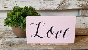 "Love 4"" x 6"" Mini Pink Wood Block Valentine's Day Sign Free Shipping"