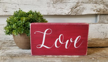 "Love 4"" x 6"" Mini Red Wood Block Valentine's Day Sign Free Shipping"