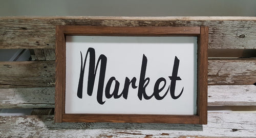 Market Framed Handmade Farmhouse Wood Kitchen Sign 7