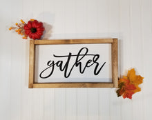 "Gather Framed Farmhouse Thanksgiving Wood Sign 7"" x 14"""