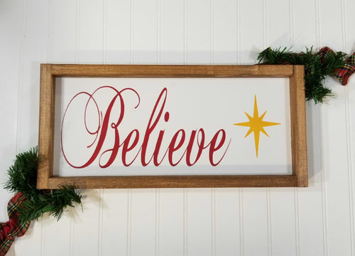 Believe Spiritual Christmas Framed Farmhouse Wood Sign 7