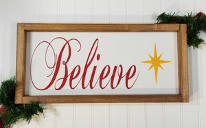 "Believe Spiritual Christmas Framed Farmhouse Wood Sign 7"" x 17"