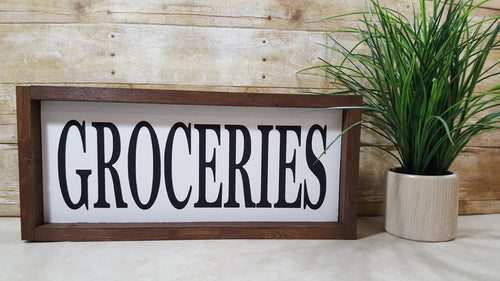 Groceries Framed Farmhouse Wood Kitchen Sign 7
