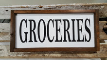 "Groceries Framed Farmhouse Wood Kitchen Sign 7"" x 17"""