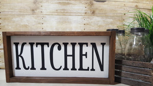 "Kitchen Framed Farmhouse Wood Kitchen Sign 7"" x 17"""