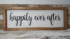 "Happily Ever After Framed Farmhouse Wood Sign  7"" x 17"""