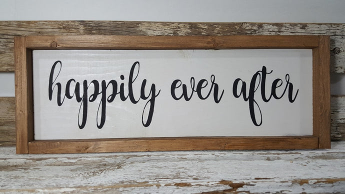 Happily Ever After Framed Farmhouse Wood Sign  7