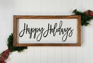 "Happy Holidays Christmas Framed Farmhouse Wood Sign 7"" x 17"