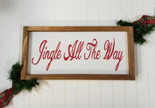 "Jingle All The Way Christmas Framed Farmhouse Wood Sign 7"" x 17"
