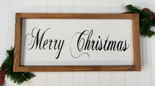 "Merry Christmas Framed Farmhouse Wood Sign 7"" x 17"