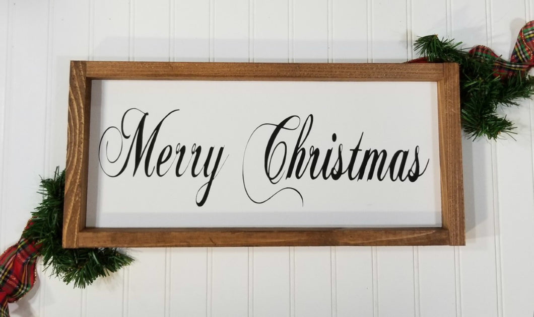 Merry Christmas Framed Farmhouse Wood Sign 7