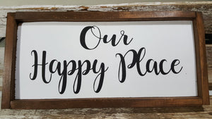 "Our Happy Place Framed Farmhouse Wood Sign 7"" x 17"""