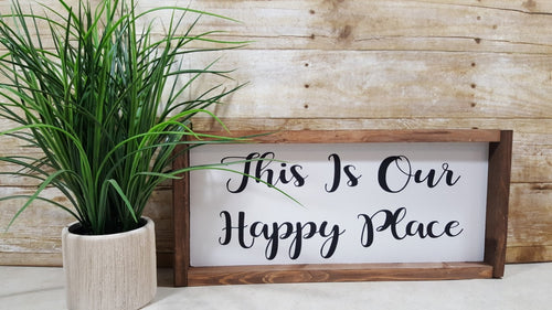 This Is Our Happy Place Framed Farmhouse Wood Sign 7
