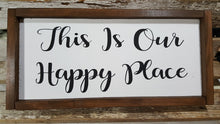 "This Is Our Happy Place Framed Farmhouse Wood Sign 7"" x 17"""