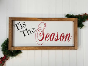 "Tis The Season Christmas Framed Farmhouse Wood Sign 7"" x 17"