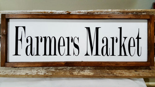 Farmers Market Framed Farmhouse White Kitchen Wood Decor Sign 7