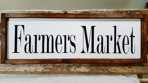 "Farmers Market Framed Farmhouse White Kitchen Wood Decor Sign 7"" x 24"""