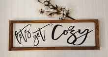 "Let's Get Cozy Farmhouse Framed White Wood Sign 7"" x 24"""