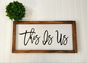 "This Is Us Framed Farmhouse White Wood Sign 8"" x 17"""