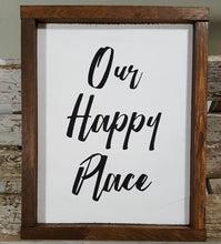 "Our Happy Place Framed Wood Sign Farmhouse Sign 9"" x 12"""