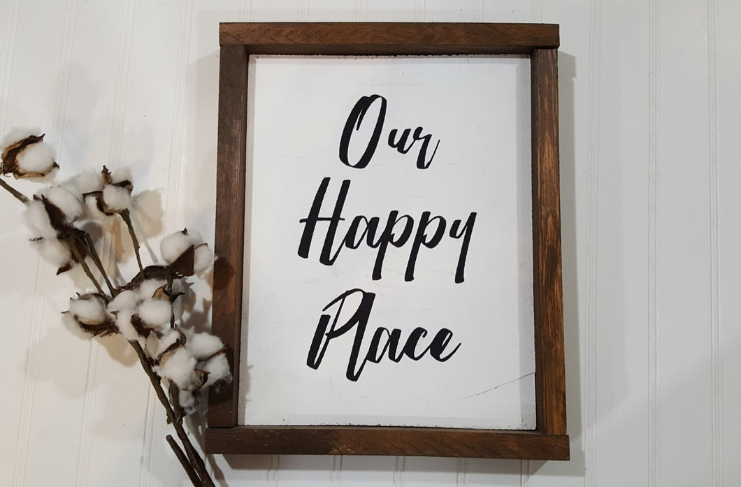 Our Happy Place Framed Wood Sign Farmhouse Sign 9