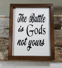 "The Battle Is Gods Not Yours Framed Wood Sign Farmhouse Sign 9"" x 12"""