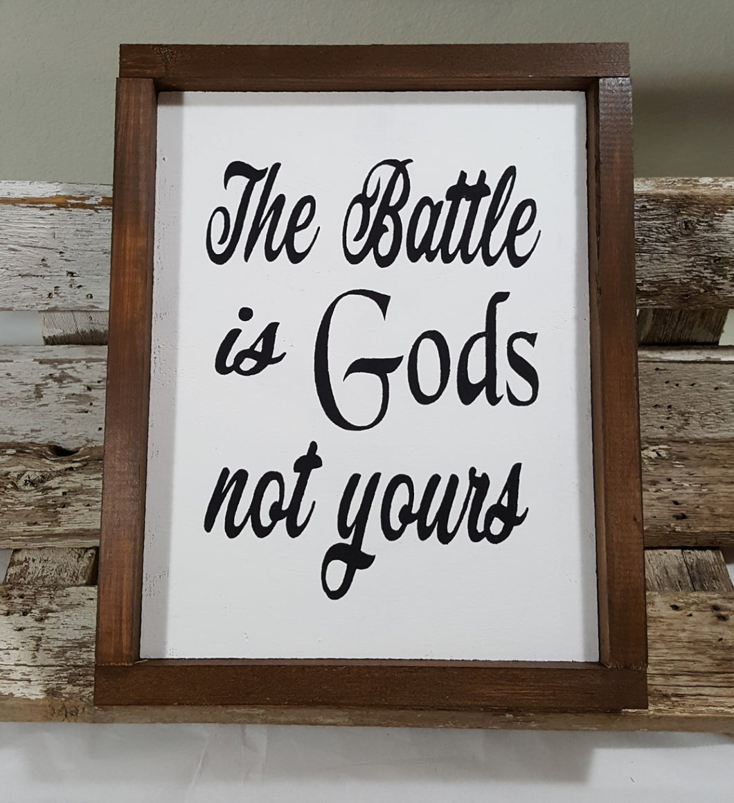 The Battle Is Gods Not Yours Framed Wood Sign Farmhouse Sign 9