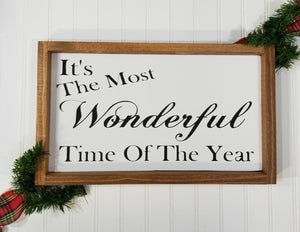 It's The Most Wonderful Time Of The Year Christmas Framed Farmhouse Wood Sign 10 x 17