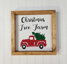 "Christmas Tree Farm Red Truck Christmas Farmhouse Wood Framed Sign 9"" x 9"""