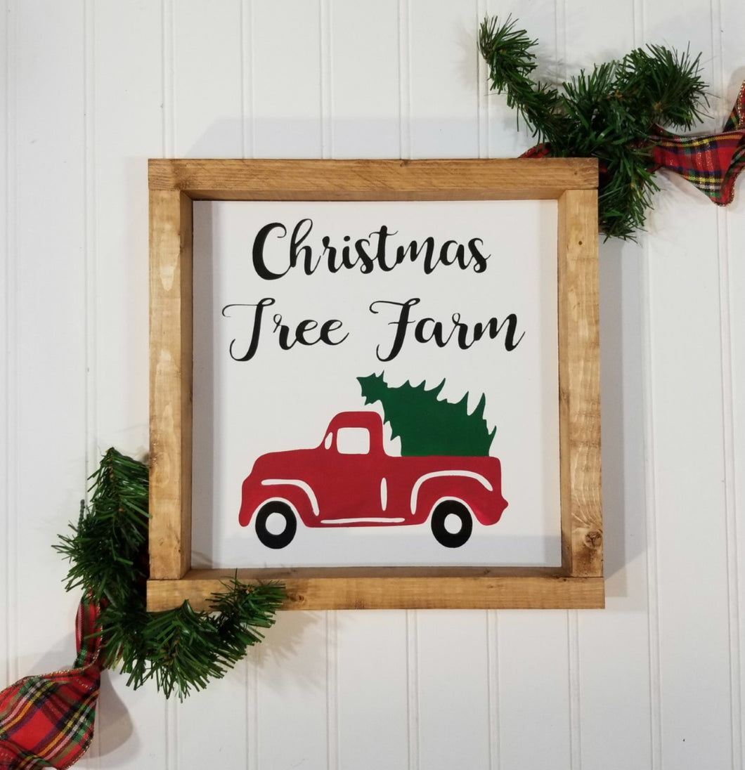 Christmas Tree Farm Red Truck Christmas Farmhouse Wood Framed Sign 9