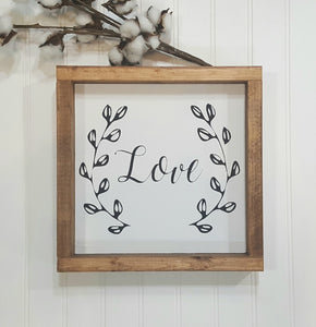 "Love Sign Farmhouse Framed Wood Sign 9"" x 9"" Farmhouse Decor"