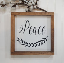 "Peace Sign Farmhouse Framed Wood Sign 9"" x 9"""