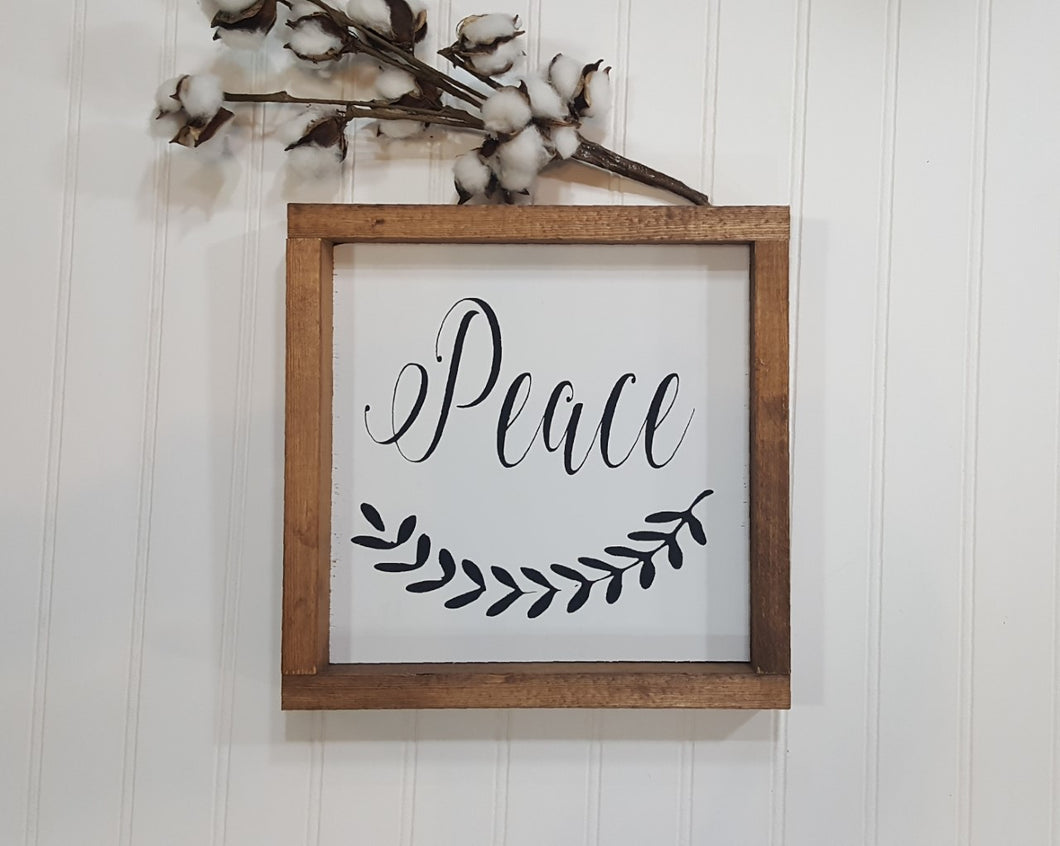 Peace Sign Farmhouse Framed Wood Sign 9