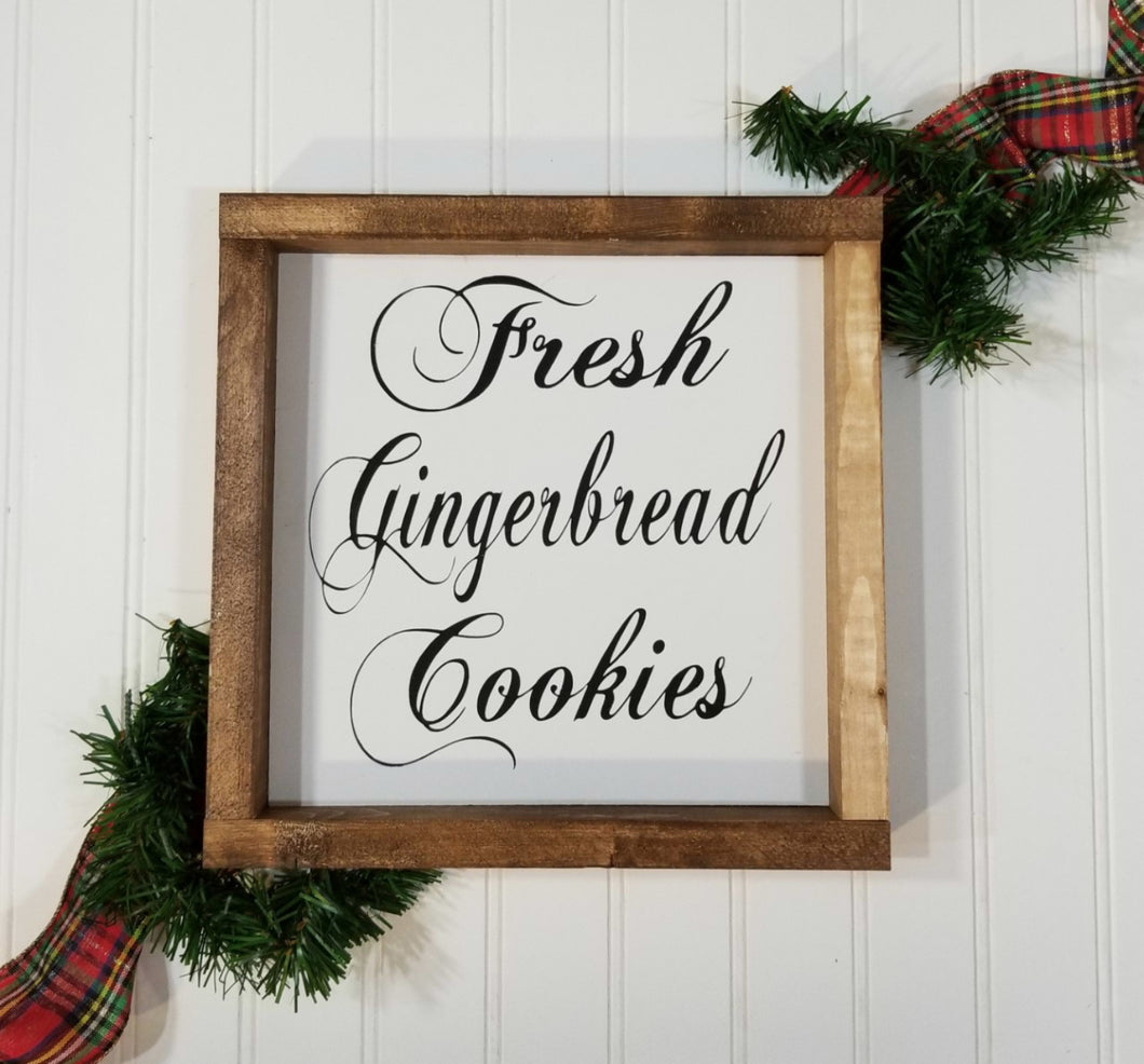 Fresh Gingerbread Cookies Christmas Farmhouse Wood Framed Sign 9