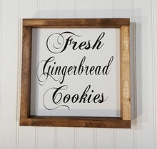 "Fresh Gingerbread Cookies Christmas Farmhouse Wood Framed Sign 9"" x 9"""