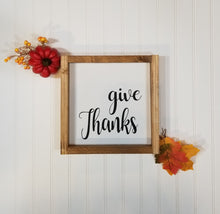"Give Thanks Farmhouse Framed Wood Sign 9"" x 9"""