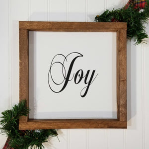 "Joy Christmas Farmhouse Wood Framed Sign 9"" x 9"""