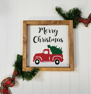 "Merry Christmas Red Truck Christmas Farmhouse Wood Framed Sign 9"" x 9"""