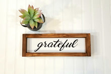 "Grateful Framed Farmhouse Wood Sign 3"" x 12"" Inspirational Wood"