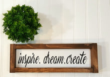 "Inspire Dream Create Framed Farmhouse Wood Sign 3"" x 12"" Motivational Sign"