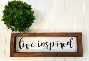 "Live Inspired Framed Farmhouse Wood Sign 3"" x 12"" Motivational Sign"