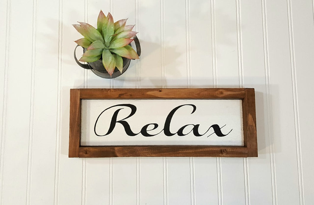 Relax Framed Farmhouse Wood Sign 3